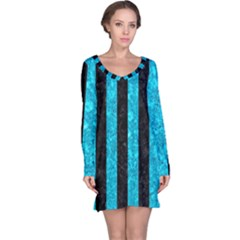 Stripes1 Black Marble & Turquoise Marble Long Sleeve Nightdress