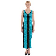 Stripes1 Black Marble & Turquoise Marble Fitted Maxi Dress