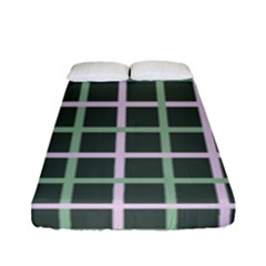 Pink And Green Tiles On Dark Green Fitted Sheet (full/ Double Size)