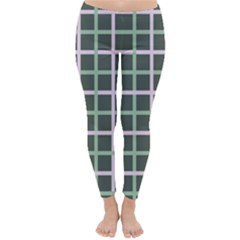 Pink And Green Tiles On Dark Green Classic Winter Leggings