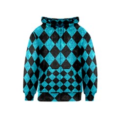 Square2 Black Marble & Turquoise Marble Kids  Zipper Hoodie