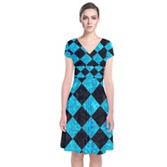 Square2 Black Marble & Turquoise Marble Short Sleeve Front Wrap Dress