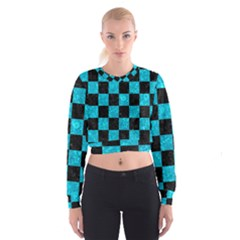 Square1 Black Marble & Turquoise Marble Cropped Sweatshirt