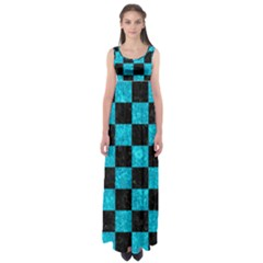 Square1 Black Marble & Turquoise Marble Empire Waist Maxi Dress