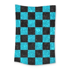 Square1 Black Marble & Turquoise Marble Small Tapestry