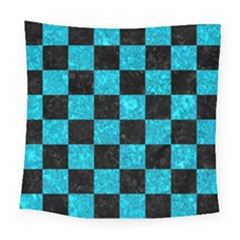 Square1 Black Marble & Turquoise Marble Square Tapestry (large)