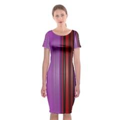 Purple Line Rainbow Classic Short Sleeve Midi Dress