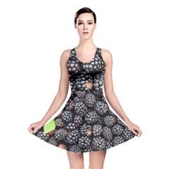 Blackberries Background Black Dark Reversible Skater Dress