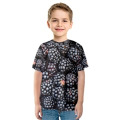 Blackberries Background Black Dark Kids  Sport Mesh Tee