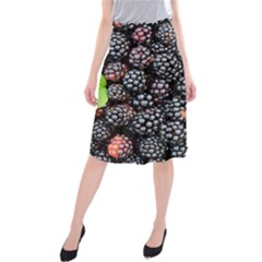 Blackberries Background Black Dark Midi Beach Skirt
