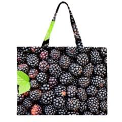 Blackberries Background Black Dark Zipper Large Tote Bag