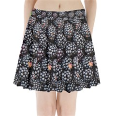 Blackberries Background Black Dark Pleated Mini Skirt