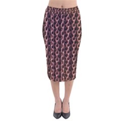 Chain Rusty Links Iron Metal Rust Velvet Midi Pencil Skirt