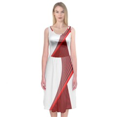 Red Black White Midi Sleeveless Dress