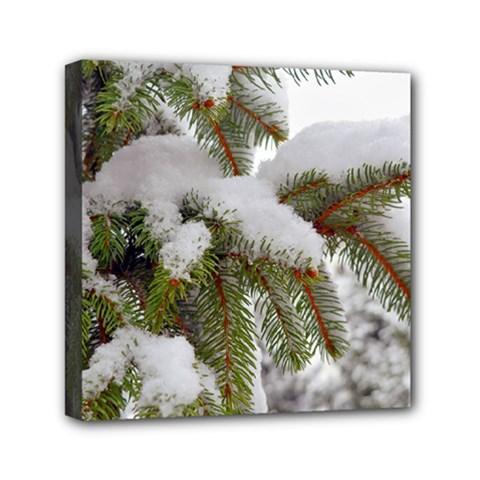 Brad Snow Winter White Green Mini Canvas 6  X 6
