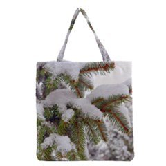 Brad Snow Winter White Green Grocery Tote Bag