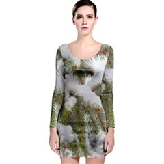 Brad Snow Winter White Green Long Sleeve Bodycon Dress