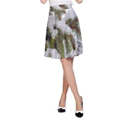Brad Snow Winter White Green A Line Skirt