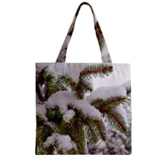 Brad Snow Winter White Green Zipper Grocery Tote Bag