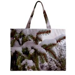 Brad Snow Winter White Green Zipper Mini Tote Bag