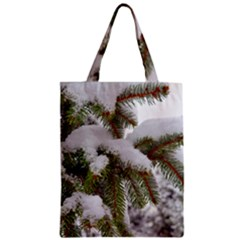 Brad Snow Winter White Green Zipper Classic Tote Bag