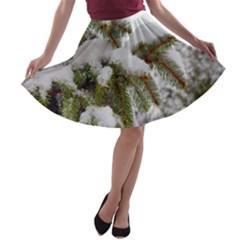 Brad Snow Winter White Green A-line Skater Skirt