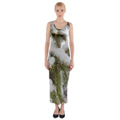 Brad Snow Winter White Green Fitted Maxi Dress