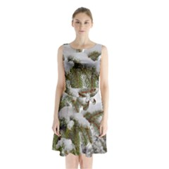 Brad Snow Winter White Green Sleeveless Chiffon Waist Tie Dress