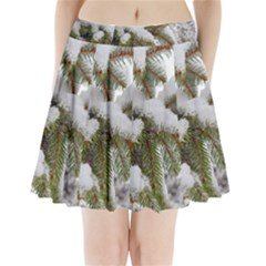 Brad Snow Winter White Green Pleated Mini Skirt