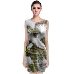 Brad Snow Winter White Green Sleeveless Velvet Midi Dress