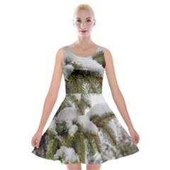 Brad Snow Winter White Green Velvet Skater Dress