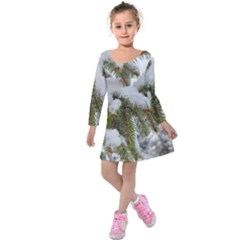 Brad Snow Winter White Green Kids  Long Sleeve Velvet Dress