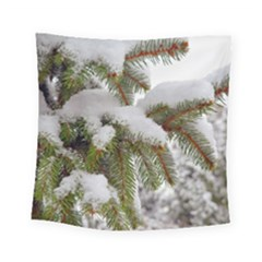 Brad Snow Winter White Green Square Tapestry (small)