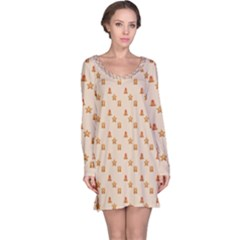 Christmas Wrapping Paper Long Sleeve Nightdress