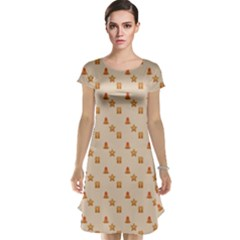 Christmas Wrapping Paper Cap Sleeve Nightdress