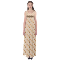 Christmas Wrapping Paper Empire Waist Maxi Dress