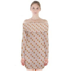 Christmas Wrapping Paper Long Sleeve Off Shoulder Dress