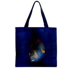 Fish Blue Animal Water Nature Zipper Grocery Tote Bag