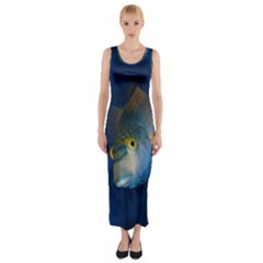 Fish Blue Animal Water Nature Fitted Maxi Dress