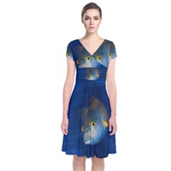 Fish Blue Animal Water Nature Short Sleeve Front Wrap Dress