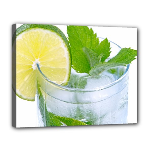 Cold Drink Lime Drink Cocktail Canvas 14  X 11
