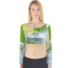 Cold Drink Lime Drink Cocktail Long Sleeve Crop Top