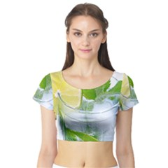 Cold Drink Lime Drink Cocktail Short Sleeve Crop Top (tight Fit)