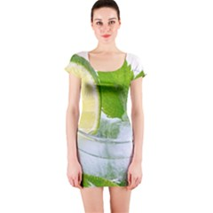 Cold Drink Lime Drink Cocktail Short Sleeve Bodycon Dress