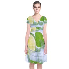 Cold Drink Lime Drink Cocktail Short Sleeve Front Wrap Dress