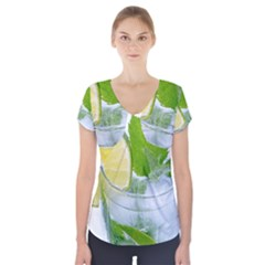 Cold Drink Lime Drink Cocktail Short Sleeve Front Detail Top