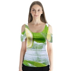 Cold Drink Lime Drink Cocktail Butterfly Sleeve Cutout Tee