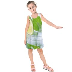 Cold Drink Lime Drink Cocktail Kids  Sleeveless Dress