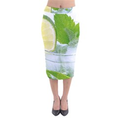 Cold Drink Lime Drink Cocktail Velvet Midi Pencil Skirt