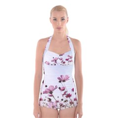 Flowers Plants Korea Nature Boyleg Halter Swimsuit
